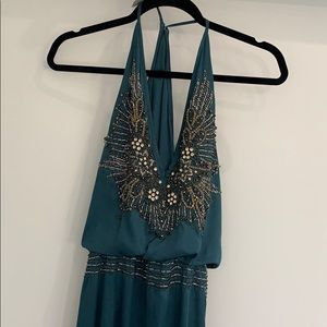Teal beaded Candela maxi gown 8